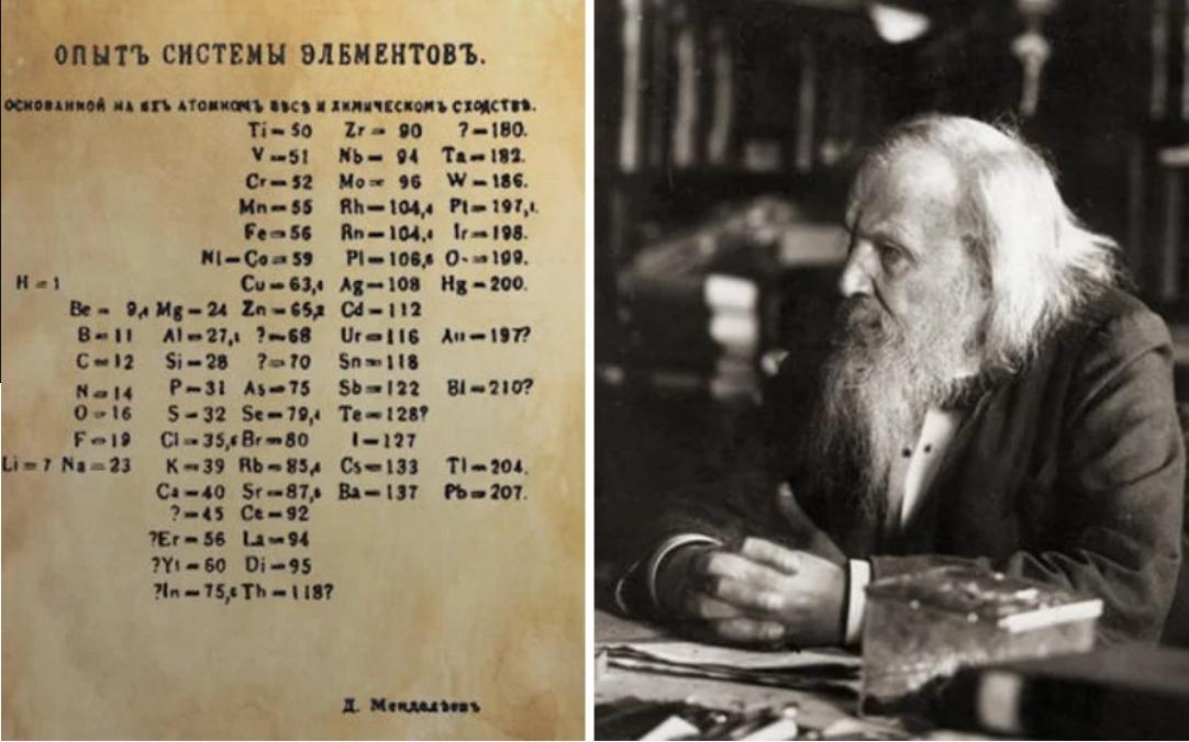 Mendelejev D.I. a jeho prvá verzia periodickej sústavy prvkov