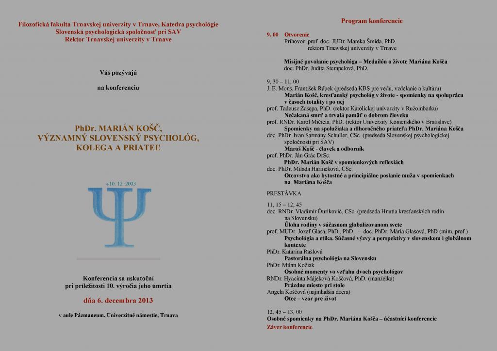 Spomienky na PhDr. Mariána Košča