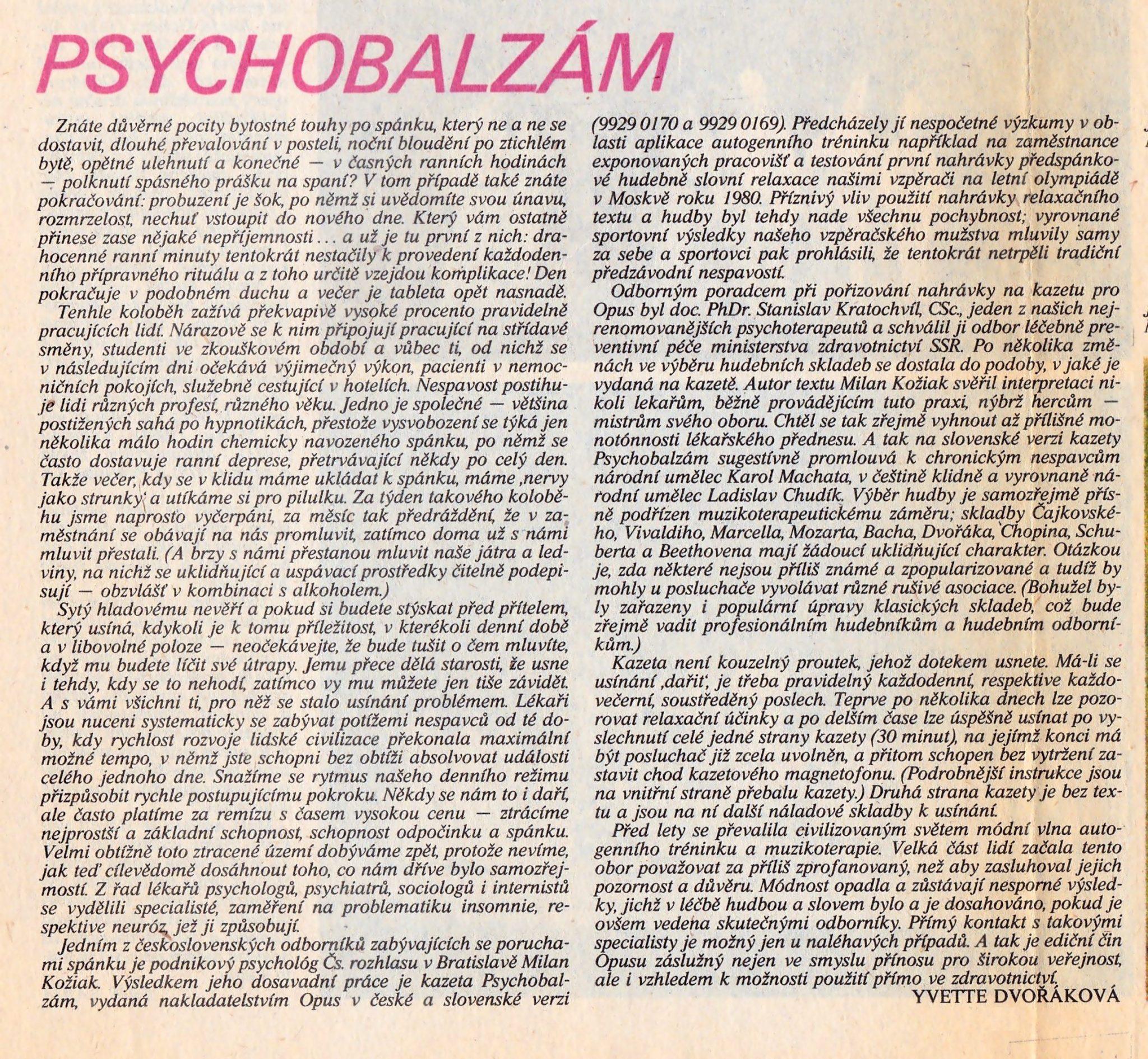 Recenzia GRAMOREVUE, č. 8, 1984, Yvette Dvořáková
